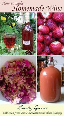 How to make Homemade Wine...plus recipes for Strawberry wine and Rose Petal wine from wine making author Ben Hardy.