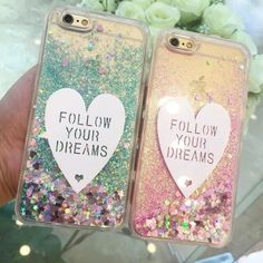 Follow Your Dreams Heart and Shaking Glitter Smart Phone Case #glitters #glam #hearts #phonecase
