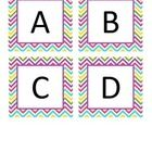 Bright pink, blue, purple, green, and yellow chevron Boggle letters for your white board (add a magnet) or bulletin board.  ...