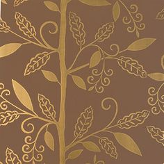 Reminiscent of an ironwork trellis, Greenwood is a modern vine and leaf #wallpaper design with curling branches that playfully climb the wall.  Featured here in #metallic on #brown from the Filigree collection. #Thibaut