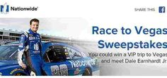 Nationwide Insurance has your shot at winning a VIP Vacation to LAS VEGAS for a meet and greet with Dale Earnhardt Jr. and you'll get to see him racing at LVMS! (- see the official rules for … Official Rules, Win A Trip, Dale Earnhardt Jr, Vip, Las Vegas, Racing, Meet, Vacation, Running