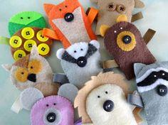 Felt Forest Critter Finger Puppets Sewing Pattern - PDF ePATTERN by preciouspatterns,   http://best-stuffed-animals-family.blogspot.com