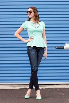 A mint peplum top over classic skinnies always looks fresh.
