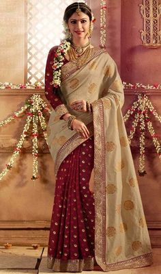 Beige and Maroon Color Silk Half N Half Sari