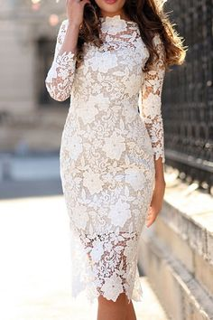 Crochet Floral Lace Bodycon Dress Shop- Women's Best Online Shopping - Offering Huge Discounts on Dresses, Lingerie , Jumpsuits , Swimwear, Tops and More. Midi Dress With Sleeves, The Dress, Dress Lace, Lace Dresses, Wedding Dresses, Party Dresses, Dinner Dresses, Pencil Dresses, Lace Chiffon