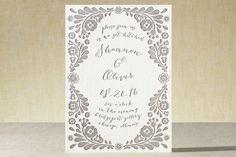 Folk Floral Garden Letterpress Wedding Invitations by Kelly Maron Horvath at minted.com