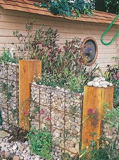 Gabion retaining wall - make it more interesting with breaks of timber poles, and rock planting or creepers