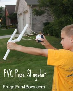 PVC Pipe Sling Shot for Kids. Kids would have lots of fun building and playing with this PVC pipe sling shot. http://hative.com/fun-and-creative-diy-pvc-pipe-projects/