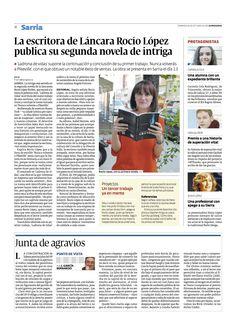 La prensa se hace eco del éxito conseguido con sus novelas. ¡Enhorabuena Rocío! Printing Press, Writers, Authors, Novels