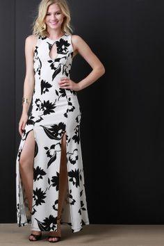 Contrasting Flower Maxi Dress