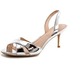 Calvin Klein Womens Lucette Slingback Dress SandalSilver8 M US * This is an Amazon Affiliate link. Want additional info? Click on the image.