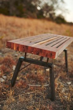 This Cedar Top Bench with Modern Metal Base ($475) is a bold and masculine outdoor furnishing.