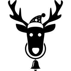 Tête de renne avec le Père Noël chapeau et une suspension de la cloche de son cou Icon gratuit
