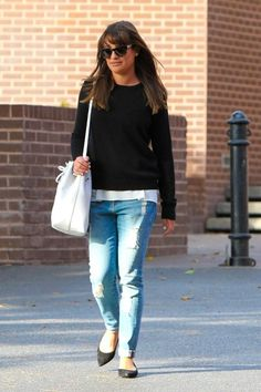 Lea Michele in West Hollywood. #poshpoint #streetstyle #LeaMichele #OliverPeoples #Frame #MansurGavriel #WestHollywood #Fashion