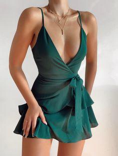 ivrose / V-Neck Surplice Cami Dress Mode Outfits, Girly Outfits, Cute Casual Outfits, Pretty Outfits, Pretty Dresses, Stylish Outfits, Beautiful Dresses, Dress Outfits, Casual Dresses