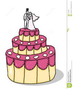 Wedding Cake Images Draw Cartoon Wedding Cake - Fondant Cake Images