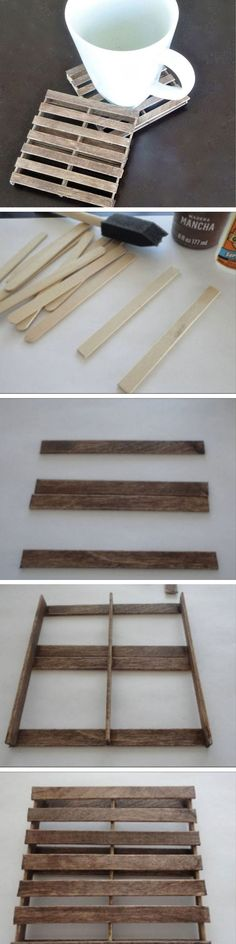 Réalisez de jolis dessous-de verres originaux avec des bâtonnets de glace façon palettes. C'est l'idée déco du samedi! Des dessous de verre originaux Pour