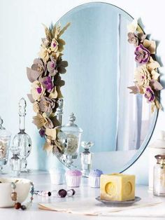 Felt Flowers Decorating Wall Mirrors with Romantic Details