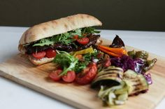 vegetables and steak sandwich