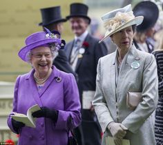 Queen Elizabeth and Princess Anne, June 20, 2013 | The Royal Hats Blog | At Ascot Day 3, 2013