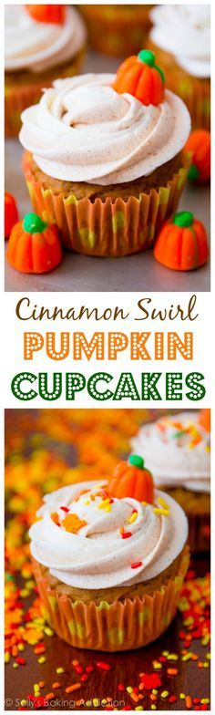 Cinnamon Swirl Pumpkin Cupcakes - Perfection. Absolute perfection! Pinterest@Sagine_1992 Sagine☀️