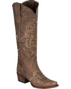 Lane Women's Tiffany Embroidered Distressed Cowgirl Boots - Snip Toe