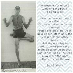 """Vrksasana from """"Props for Yoga Volume1: Standing Asanas IYCD Book of the Month""""  (Thanks to Iyengar Yoga Center of Denver for sharing)"""