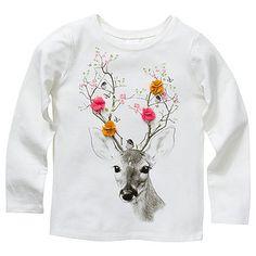Girls' Long Sleeve Deer Print Tee – Target Australia