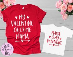 Valentines Mommy and Me Outfits, My Valentine Calls me Mama Shirt, Valentines Day Mommy and me Shirts, Matching Mommy and me Outfits Mommy And Me Shirt, Mama Shirt, Mommy And Me Outfits, Kids Outfits, Baby Outfits, Pregnancy Announcement Shirt, Valentines Day Shirts, Valentine Ideas, Holiday Outfits
