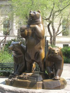 """""""A Group of Bears"""" by Paul Manship. Bronze, modeled and originally cast 1932; re-cast 1989. In the In the Pat Hoffman Friedman Playground at East 79th Street (next to The Metropolitan Museum of Art) NYC."""