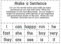 1st Grade Learning Stars: Make a Sentence