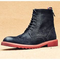 Classic Men Black Leather Lace Up Winter Dress Brogue Boots SKU-1100089