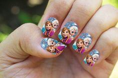 Disney Frozen Elsa and Anna Nail Wrap by AwesomeNailArt on Etsy, $3.75