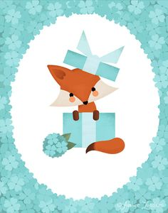 This piece was created with one of my good friends in mind. She loves Tiffany& hydrangeas and cute animals. Fox Illustration, Illustrations, Art Fox, Fantastic Fox, Fox Decor, Kawaii, Iphone Wallpaper, Art Drawings, Cute Animals