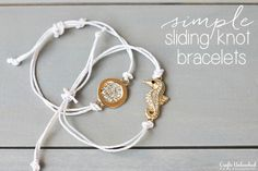 5 Minute Sliding Knot Bracelets Saw the Pura Vida bracelets and this must be how they do them. Cute. Must try. .