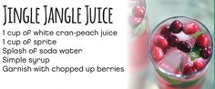 Jingle Jangle Juice 1 cup of white cran-peach juice 1 cup of sprite Splash of soda water Simple syrup Garnish with chopped up berries #Cardis #PortsmouthPublickHouse #TheRhodeShow #WPRI12 #drinks #mocktails #winter #holidays