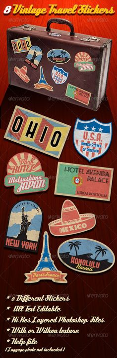 Vintage Travel Stickers $5.00