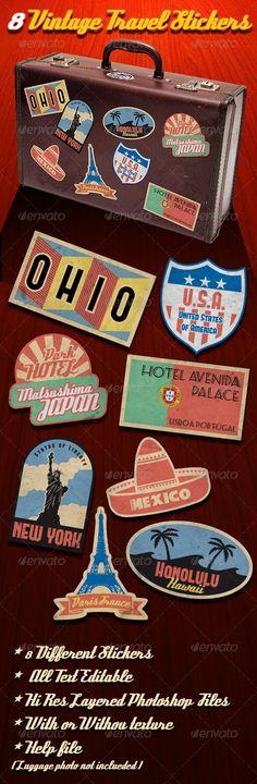 Vintage Travel Stickers $5.00
