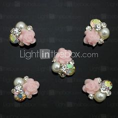 10pcs   Pearl Pink Rose Flower 3D Rhinestone DIY Accessories Nail Art Decoration - USD $3.99