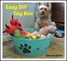 This easy DIY Toy Box is the perfect size and height for small dogs and costs less than $10