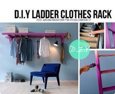 D.I.Y clothes rack. I LOVE this! (And i barely have a closet); future mud room idea...fold down flat option gmt