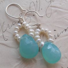 Petite Blythe / Faceted Aqua Chalcedony, FWPearls