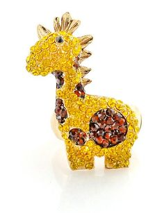 Little Baby Yellow Giraffe Pave Crystal 3D Stretch Ring