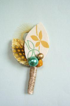 Golden Leaf Boutonniere by ekaminsk on Etsy, $13.00