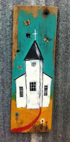 Modern Folk Church Rustic Wood by evesjulia12 on Etsy, $68.00