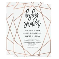 Modern Faux Rose Gold Geometric | Baby Shower Card - elegant gifts classic stylish gift idea diy style
