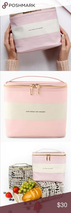 """🎄🎁 Kate Spade Out to Lunch Tote Bag Lunchbox New with tags! Say goodbye brown bag, hello blush pink lunch tote featuring """"Save Room For Dessert"""". Coated-linen cover, complemented by an insulated interior with gold zipper pulls, and an easy-carry handle. 7""""h x 8""""w x 4.5""""d kate spade Bags"""