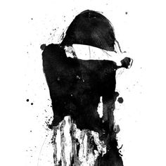 Cry Girl, Black and White Art, Acrylic Painting, Giclee Print, Sad... ❤ liked on Polyvore featuring home, home decor, wall art, ink painting, matte painting, giclee painting, girl painting and giclee wall art