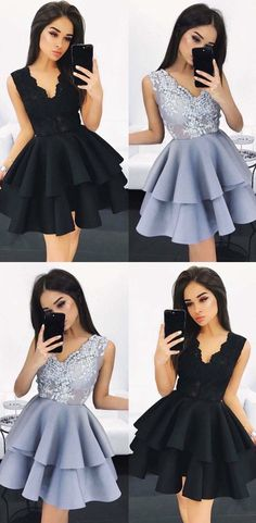 2017 party dresses, chic a-line fashion dresses with appliques, homecoming dresses