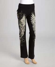 This Black & White Wing Lounge Pants by Bus Stop is perfect! #zulilyfinds